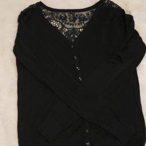 Long sleeve cardigan with back lace details